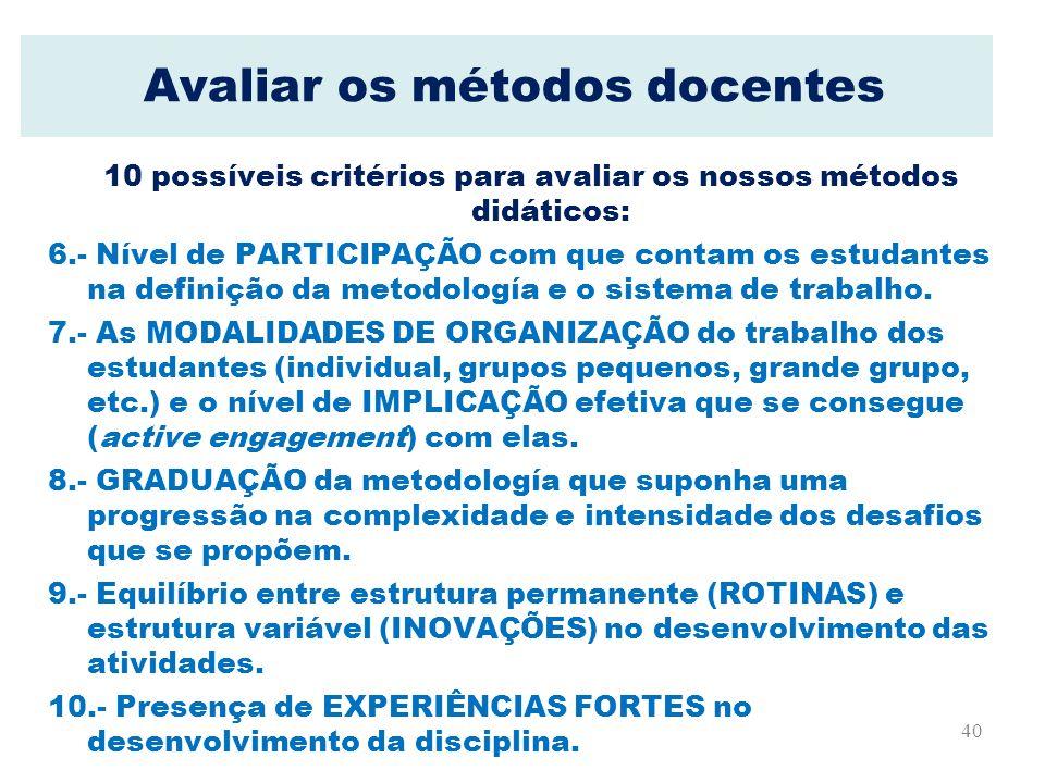 40 Avaliar os métodos docentes 10 possíveis critérios para avaliar os nossos métodos didáticos: 6.- Nível de PARTICIPAÇÃO com que contam os estudantes
