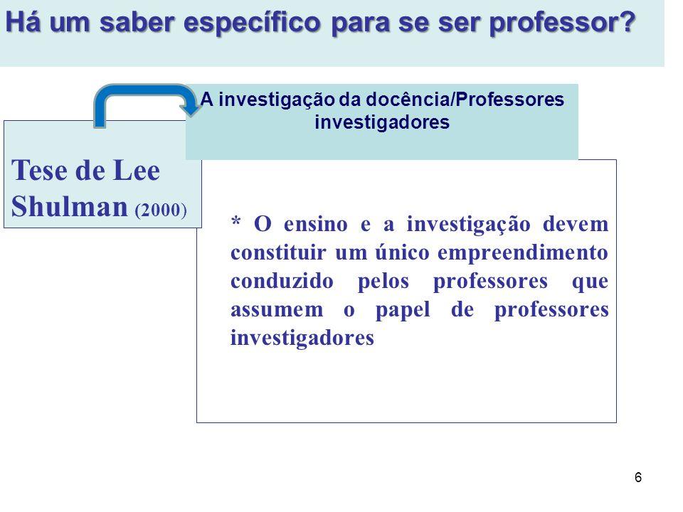 6 * O ensino e a investigação devem constituir um único empreendimento conduzido pelos professores que assumem o papel de professores investigadores T