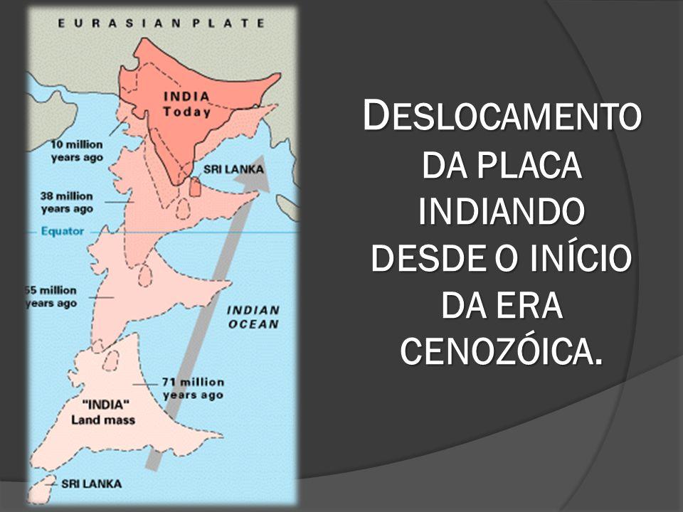 D ESLOCAMENTO DA PLACA INDIANDO DESDE O INÍCIO DA ERA CENOZÓICA.