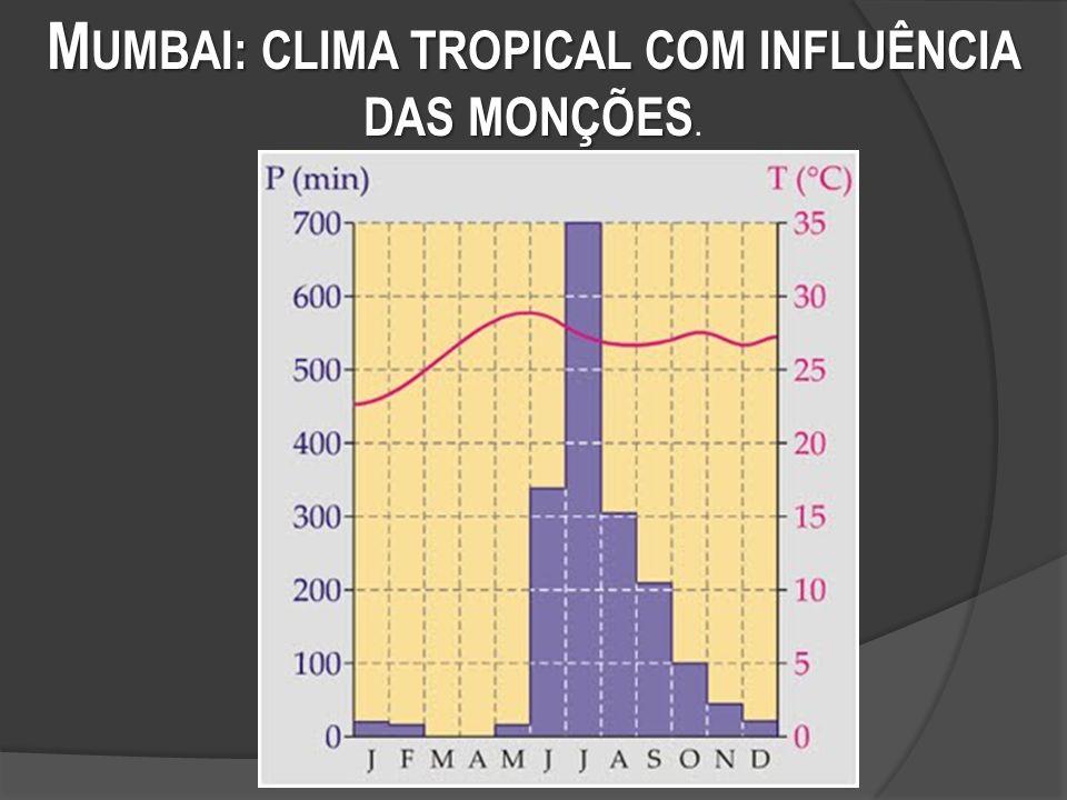 M UMBAI: CLIMA TROPICAL COM INFLUÊNCIA DAS MONÇÕES M UMBAI: CLIMA TROPICAL COM INFLUÊNCIA DAS MONÇÕES.