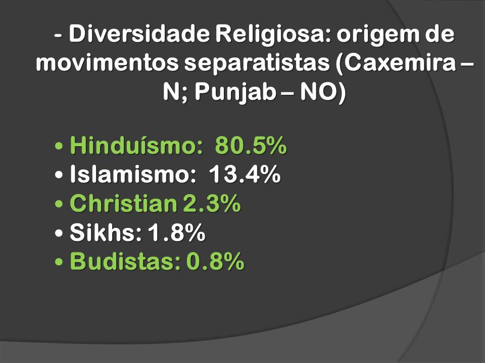- Diversidade Religiosa: origem de movimentos separatistas (Caxemira – N; Punjab – NO) Hinduísmo: 80.5% Islamismo: 13.4% Christian 2.3% Christian 2.3% Sikhs: 1.8% Sikhs: 1.8% Budistas: 0.8% Budistas: 0.8%
