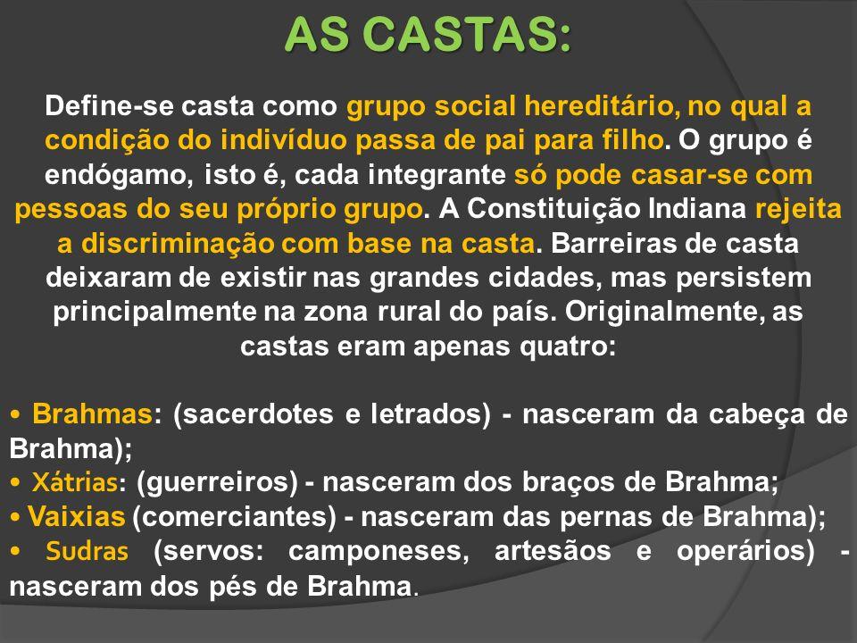 AS CASTAS: Define-se casta como grupo social hereditário, no qual a condição do indivíduo passa de pai para filho.