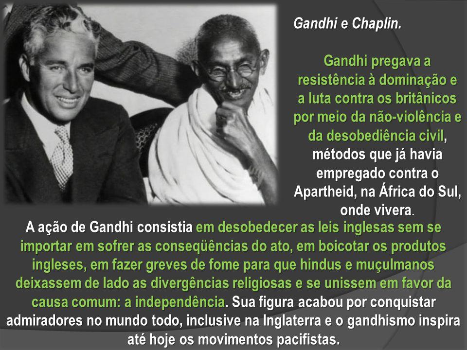 A ação de Gandhi consistia em desobedecer as leis inglesas sem se importar em sofrer as conseqüências do ato, em boicotar os produtos ingleses, em fazer greves de fome para que hindus e muçulmanos deixassem de lado as divergências religiosas e se unissem em favor da causa comum: a independência.