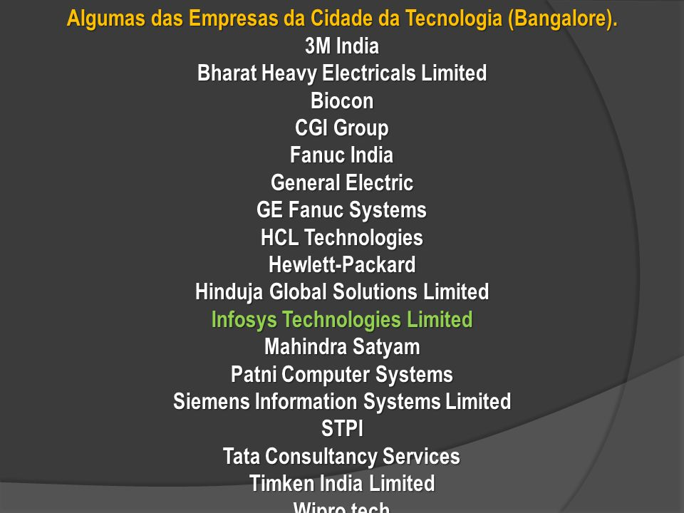 Algumas das Empresas da Cidade da Tecnologia (Bangalore).