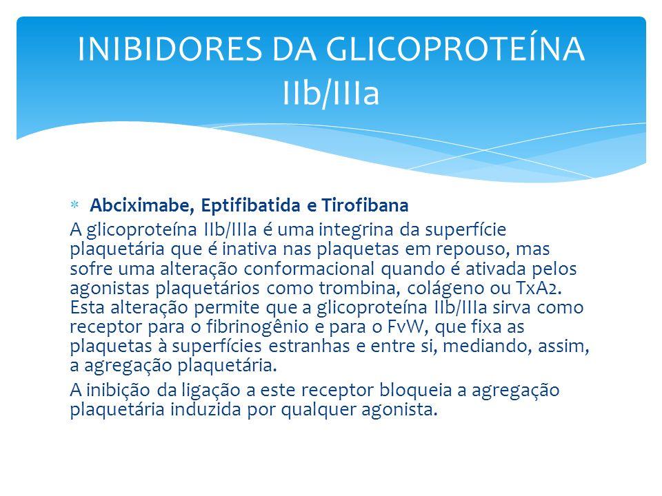 Abciximabe, Eptifibatida e Tirofibana A glicoproteína IIb/IIIa é uma integrina da superfície plaquetária que é inativa nas plaquetas em repouso, mas s