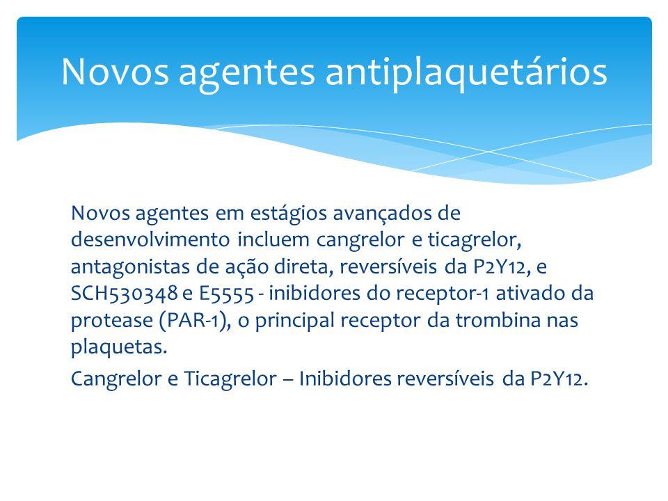 Novos agentes em estágios avançados de desenvolvimento incluem cangrelor e ticagrelor, antagonistas de ação direta, reversíveis da P2Y12, e SCH530348