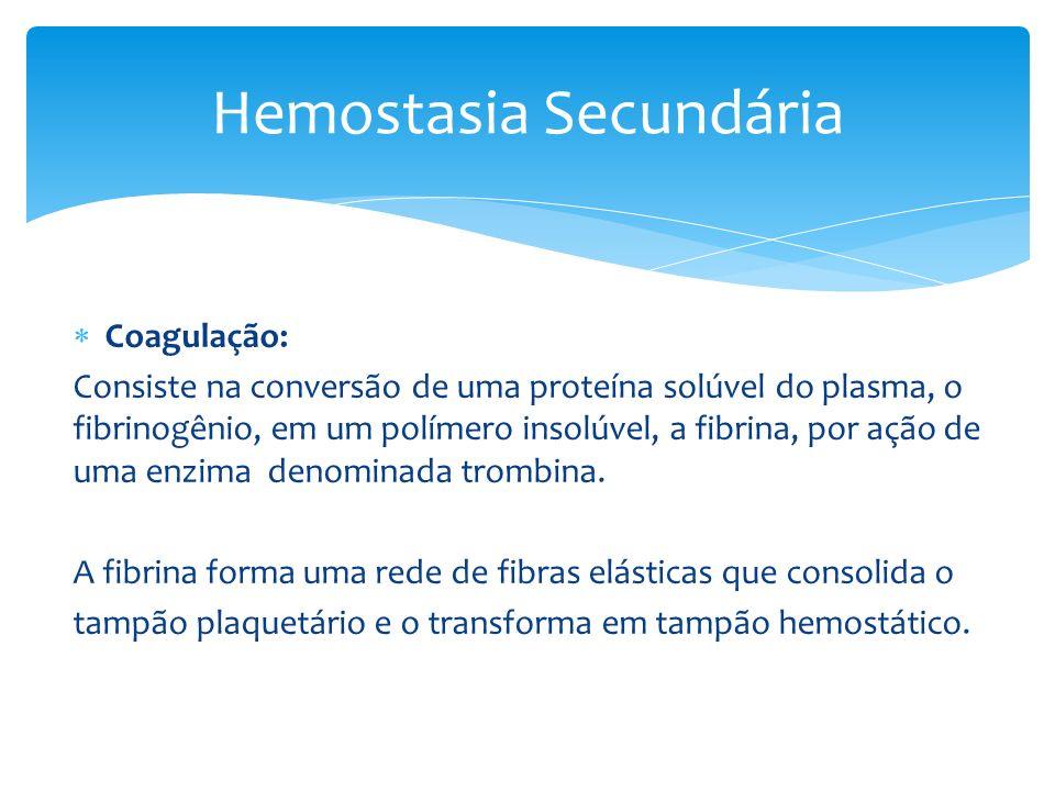 Coagulação: Consiste na conversão de uma proteína solúvel do plasma, o fibrinogênio, em um polímero insolúvel, a fibrina, por ação de uma enzima denom