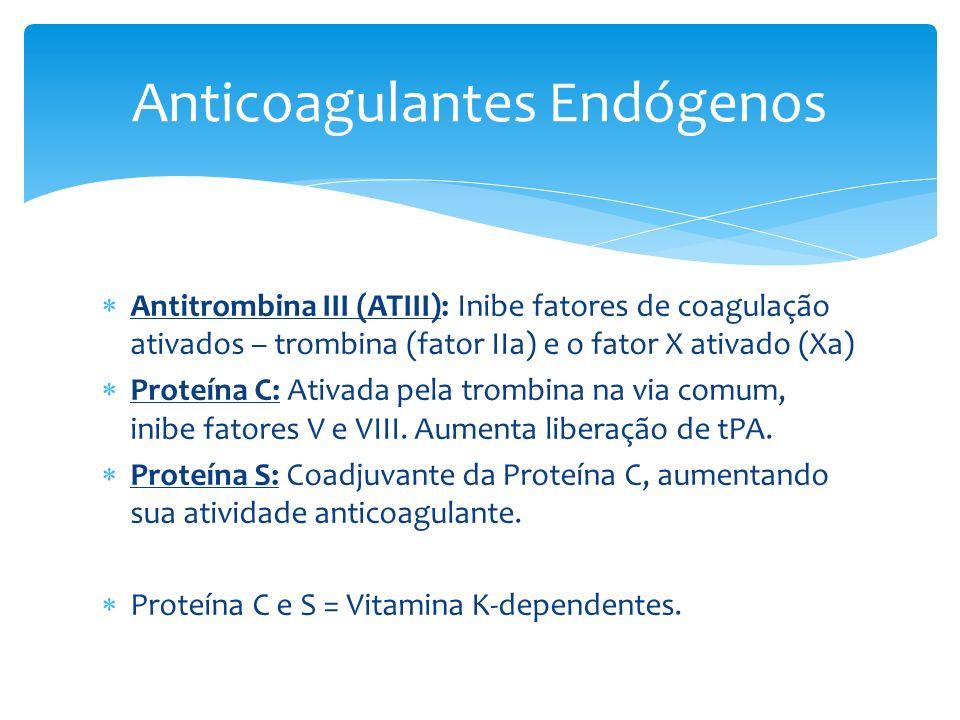 Antitrombina III (ATIII): Inibe fatores de coagulação ativados – trombina (fator IIa) e o fator X ativado (Xa) Proteína C: Ativada pela trombina na vi