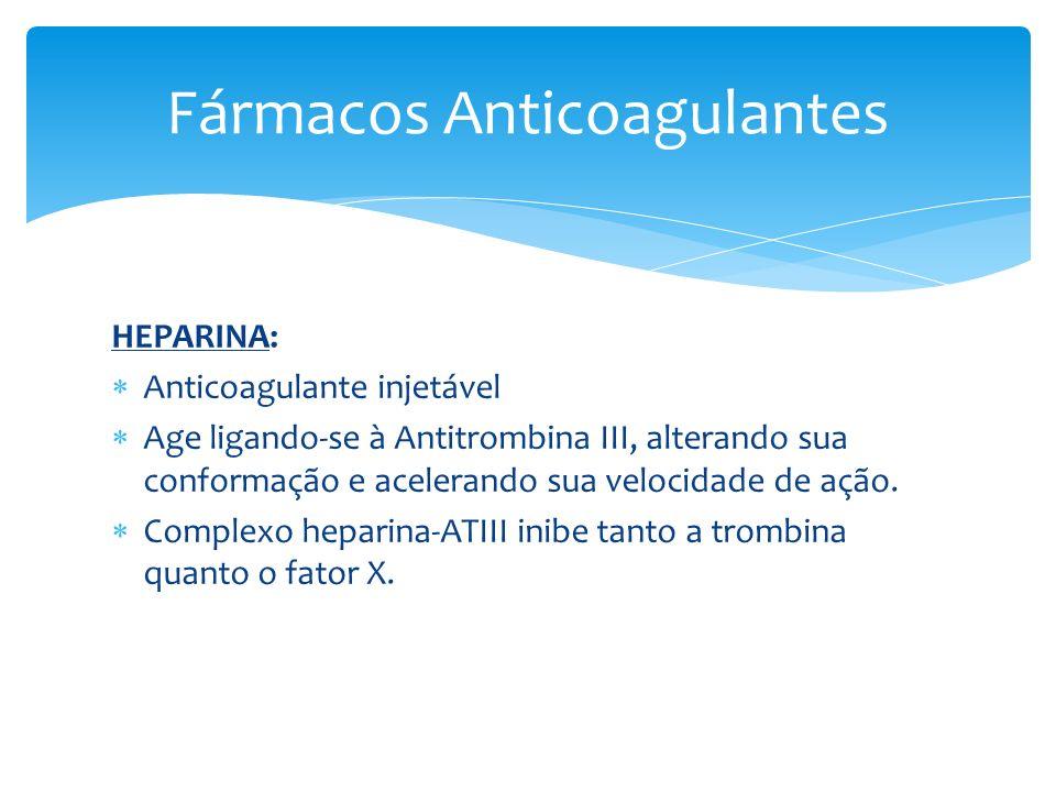 HEPARINA: Anticoagulante injetável Age ligando-se à Antitrombina III, alterando sua conformação e acelerando sua velocidade de ação. Complexo heparina