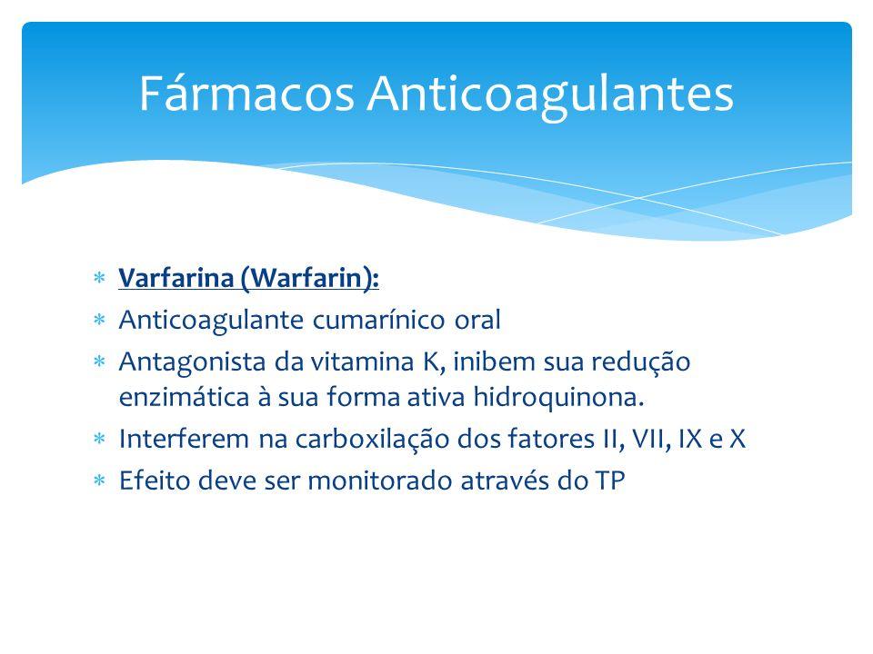 Varfarina (Warfarin): Anticoagulante cumarínico oral Antagonista da vitamina K, inibem sua redução enzimática à sua forma ativa hidroquinona. Interfer