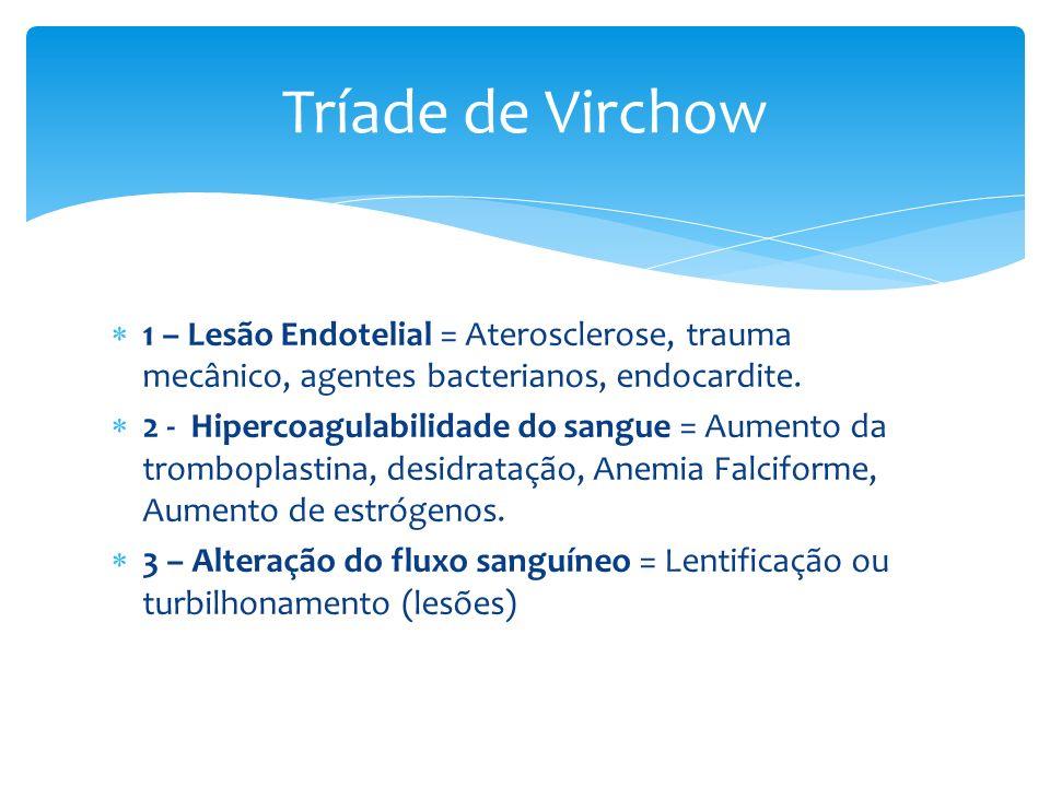 1 – Lesão Endotelial = Aterosclerose, trauma mecânico, agentes bacterianos, endocardite. 2 - Hipercoagulabilidade do sangue = Aumento da tromboplastin