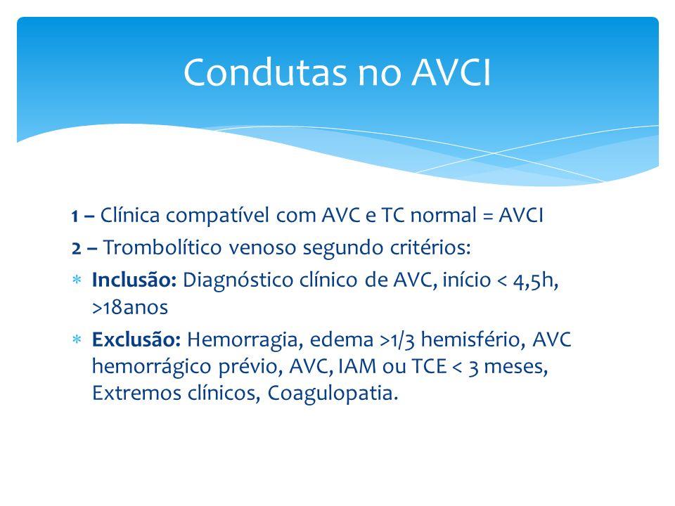 1 – Clínica compatível com AVC e TC normal = AVCI 2 – Trombolítico venoso segundo critérios: Inclusão: Diagnóstico clínico de AVC, início 18anos Exclu