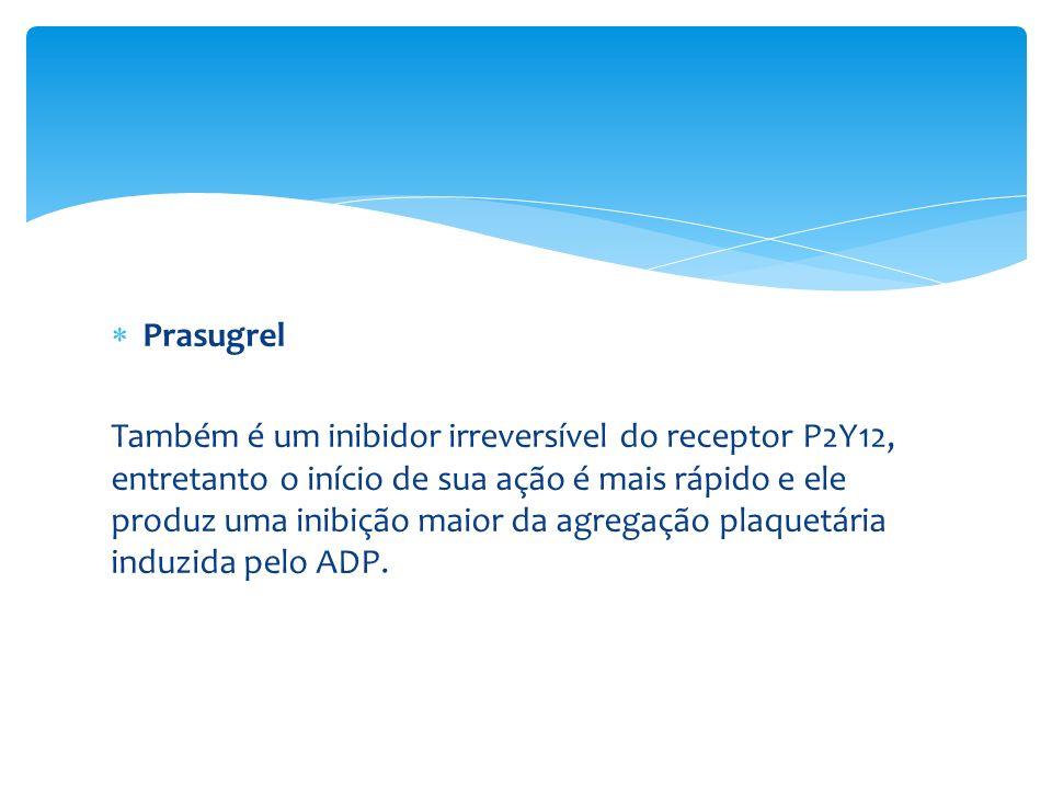 Prasugrel Também é um inibidor irreversível do receptor P2Y12, entretanto o início de sua ação é mais rápido e ele produz uma inibição maior da agrega