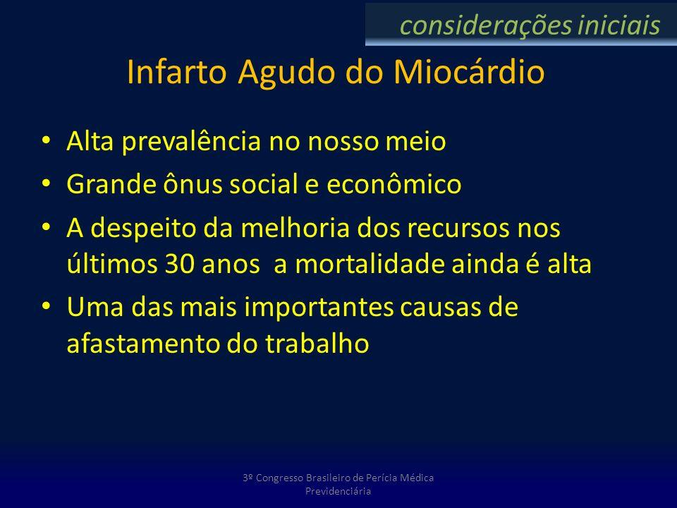 Infarto Agudo do Miocárdio Alta prevalência no nosso meio Grande ônus social e econômico A despeito da melhoria dos recursos nos últimos 30 anos a mor