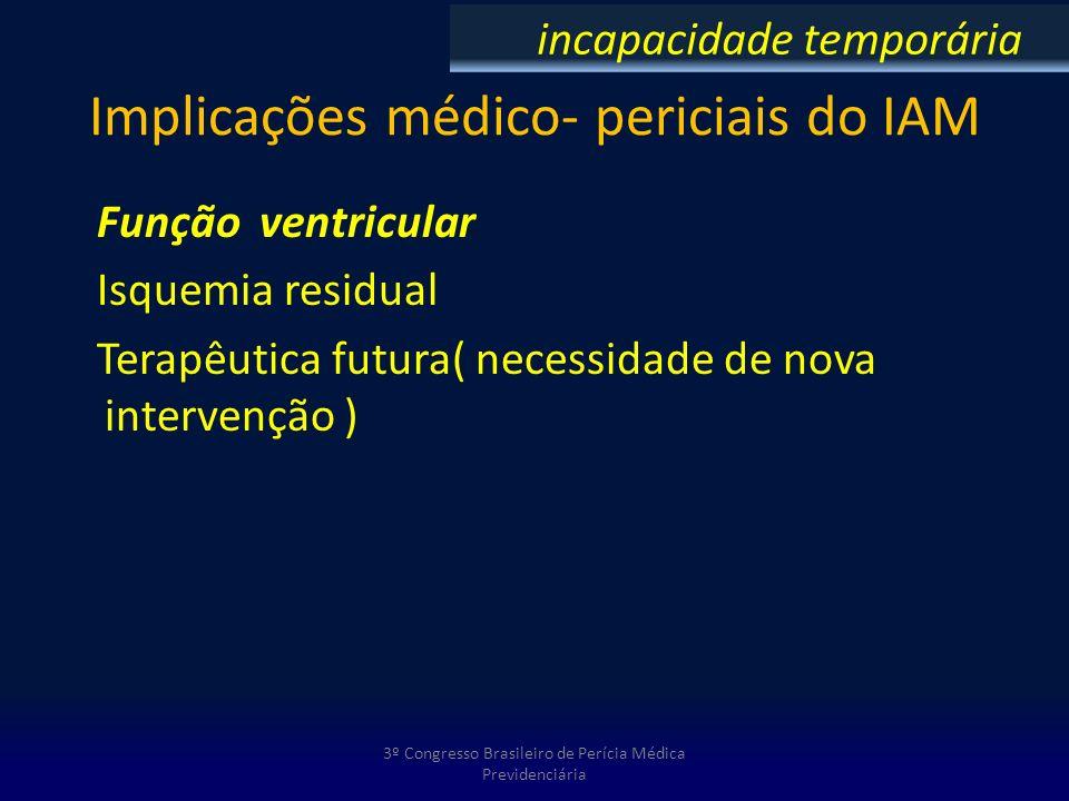 Implicações médico- periciais do IAM Função ventricular Isquemia residual Terapêutica futura( necessidade de nova intervenção ) 3º Congresso Brasileir