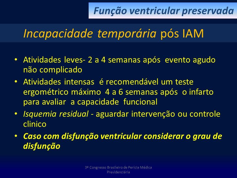 Atividades leves- 2 a 4 semanas após evento agudo não complicado Atividades intensas é recomendável um teste ergométrico máximo 4 a 6 semanas após o i