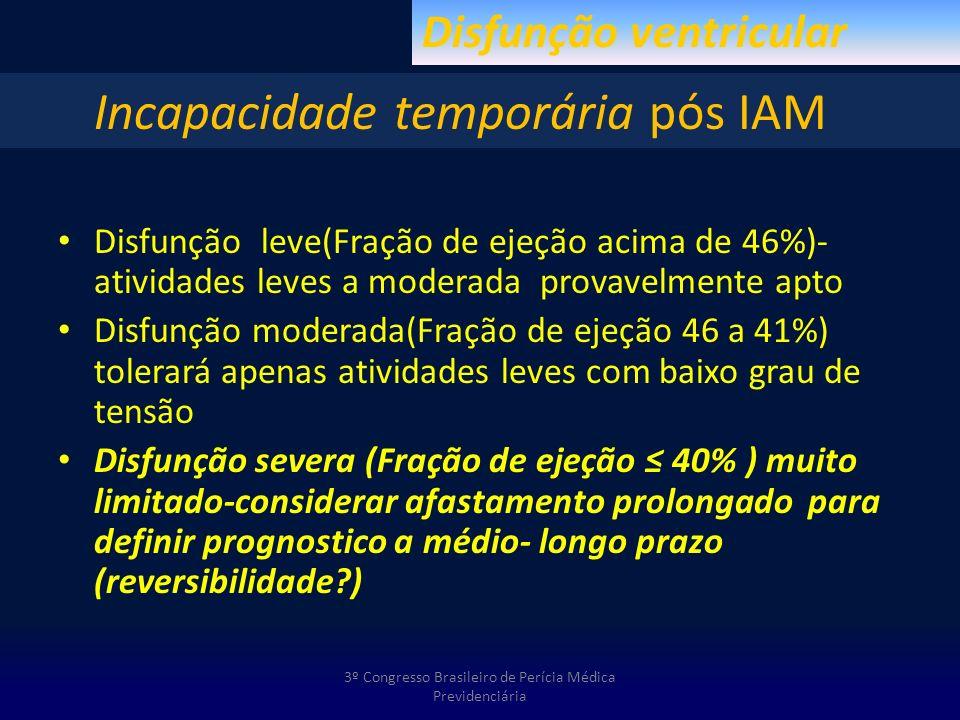 Disfunção leve(Fração de ejeção acima de 46%)- atividades leves a moderada provavelmente apto Disfunção moderada(Fração de ejeção 46 a 41%) tolerará a