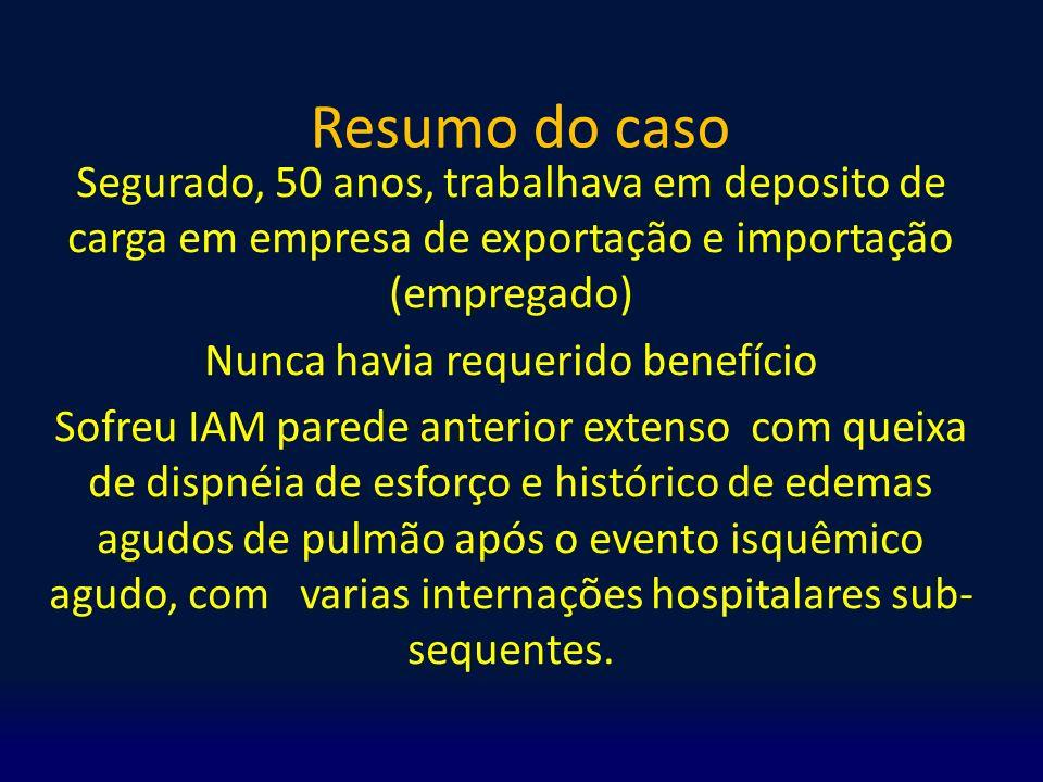 Resumo do caso Segurado, 50 anos, trabalhava em deposito de carga em empresa de exportação e importação (empregado) Nunca havia requerido benefício So