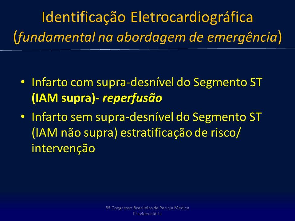 Identificação Eletrocardiográfica ( fundamental na abordagem de emergência ) Infarto com supra-desnível do Segmento ST (IAM supra)- reperfusão Infarto