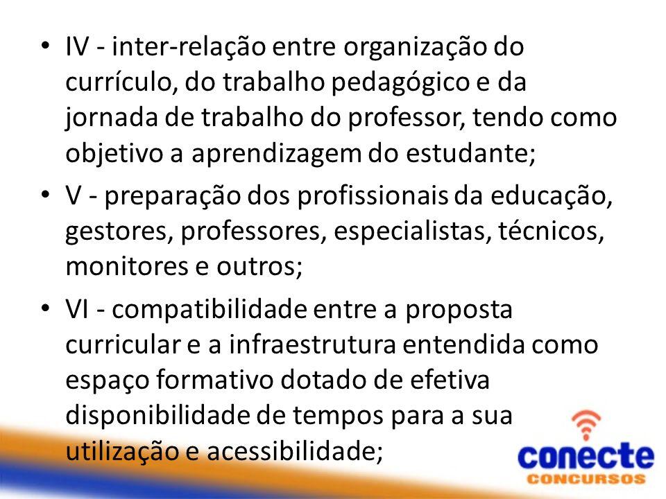 IV - inter-relação entre organização do currículo, do trabalho pedagógico e da jornada de trabalho do professor, tendo como objetivo a aprendizagem do