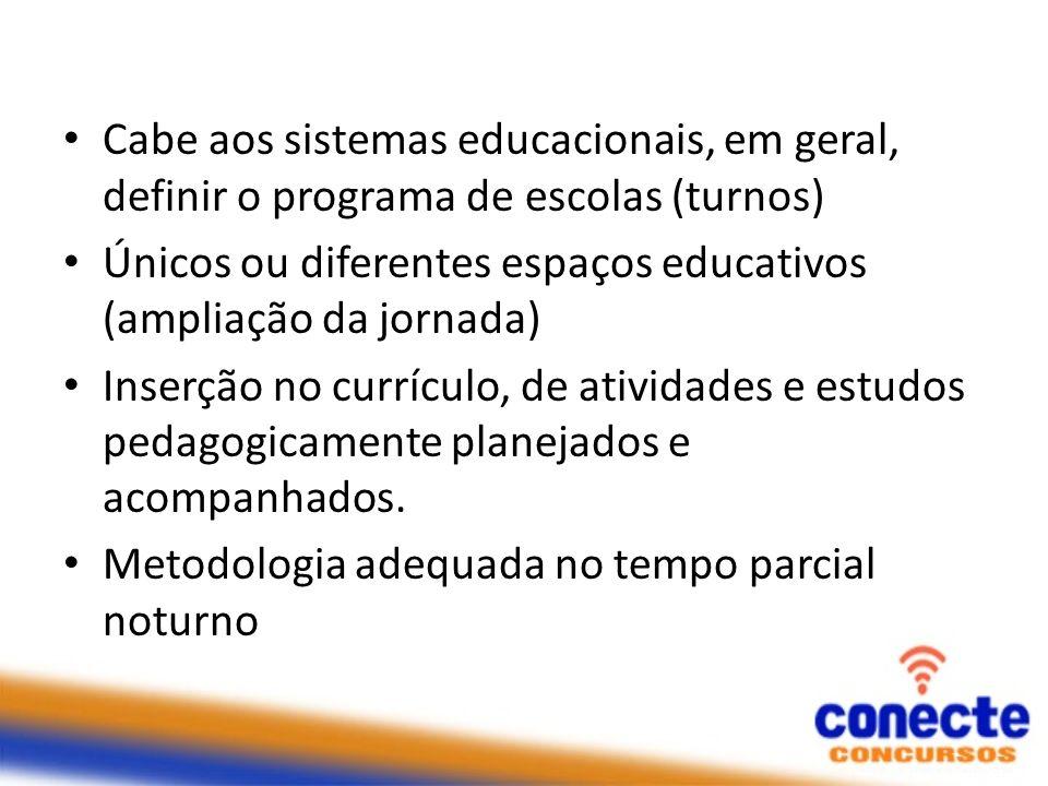 Cabe aos sistemas educacionais, em geral, definir o programa de escolas (turnos) Únicos ou diferentes espaços educativos (ampliação da jornada) Inserç