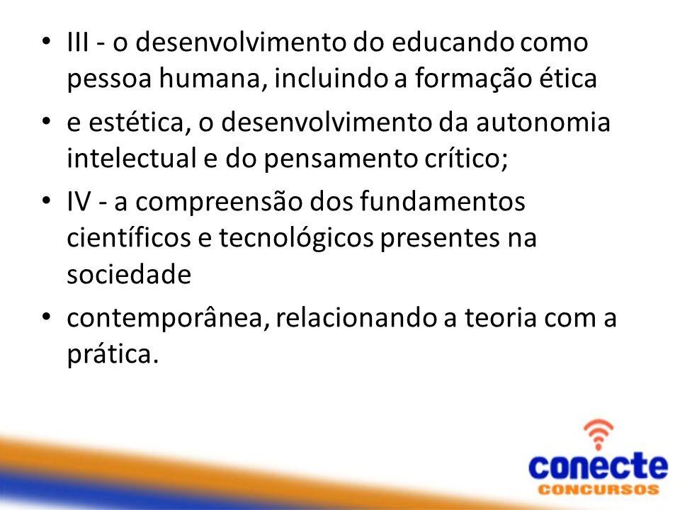III - o desenvolvimento do educando como pessoa humana, incluindo a formação ética e estética, o desenvolvimento da autonomia intelectual e do pensame