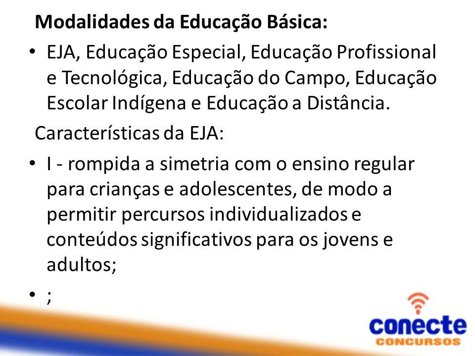 Modalidades da Educação Básica: EJA, Educação Especial, Educação Profissional e Tecnológica, Educação do Campo, Educação Escolar Indígena e Educação a