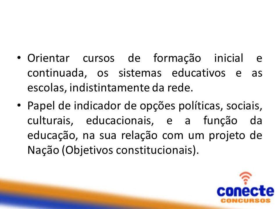 Orientar cursos de formação inicial e continuada, os sistemas educativos e as escolas, indistintamente da rede. Papel de indicador de opções políticas