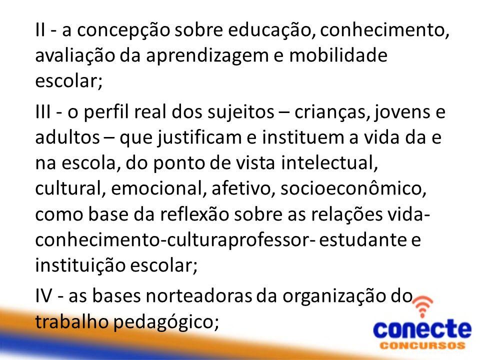 II - a concepção sobre educação, conhecimento, avaliação da aprendizagem e mobilidade escolar; III - o perfil real dos sujeitos – crianças, jovens e a