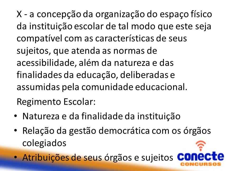 X - a concepção da organização do espaço físico da instituição escolar de tal modo que este seja compatível com as características de seus sujeitos, q