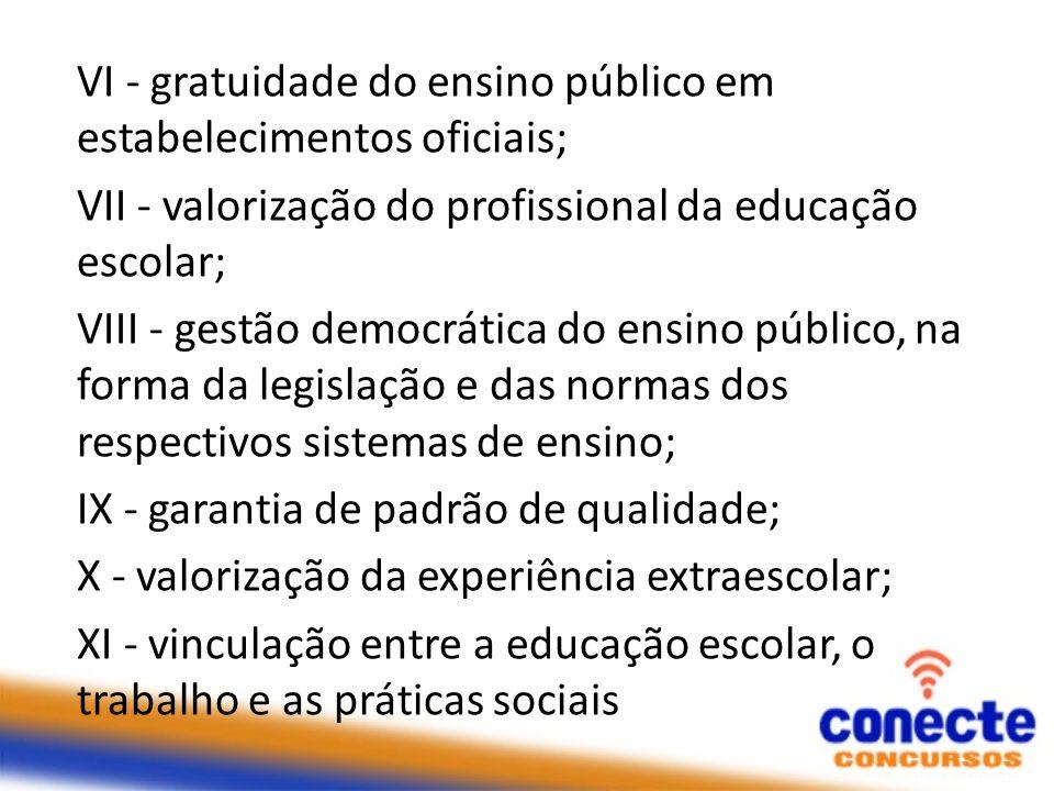 VI - gratuidade do ensino público em estabelecimentos oficiais; VII - valorização do profissional da educação escolar; VIII - gestão democrática do en