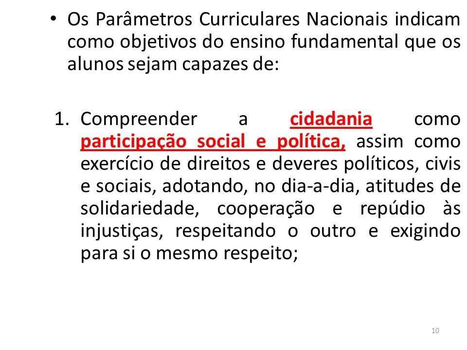 Os Parâmetros Curriculares Nacionais indicam como objetivos do ensino fundamental que os alunos sejam capazes de: 1.Compreender a cidadania como parti
