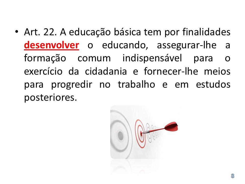 Art. 22. A educação básica tem por finalidades desenvolver o educando, assegurar-lhe a formação comum indispensável para o exercício da cidadania e fo