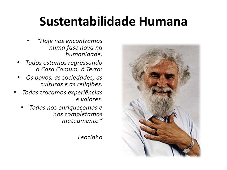 Sustentabilidade Humana Hoje nos encontramos numa fase nova na humanidade. Todos estamos regressando à Casa Comum, à Terra: Os povos, as sociedades, a