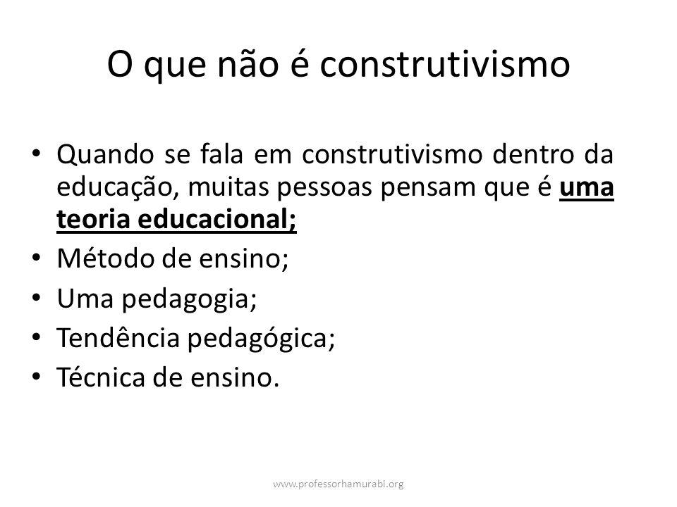 www.professorhamurabi.org O que não é construtivismo Quando se fala em construtivismo dentro da educação, muitas pessoas pensam que é uma teoria educa