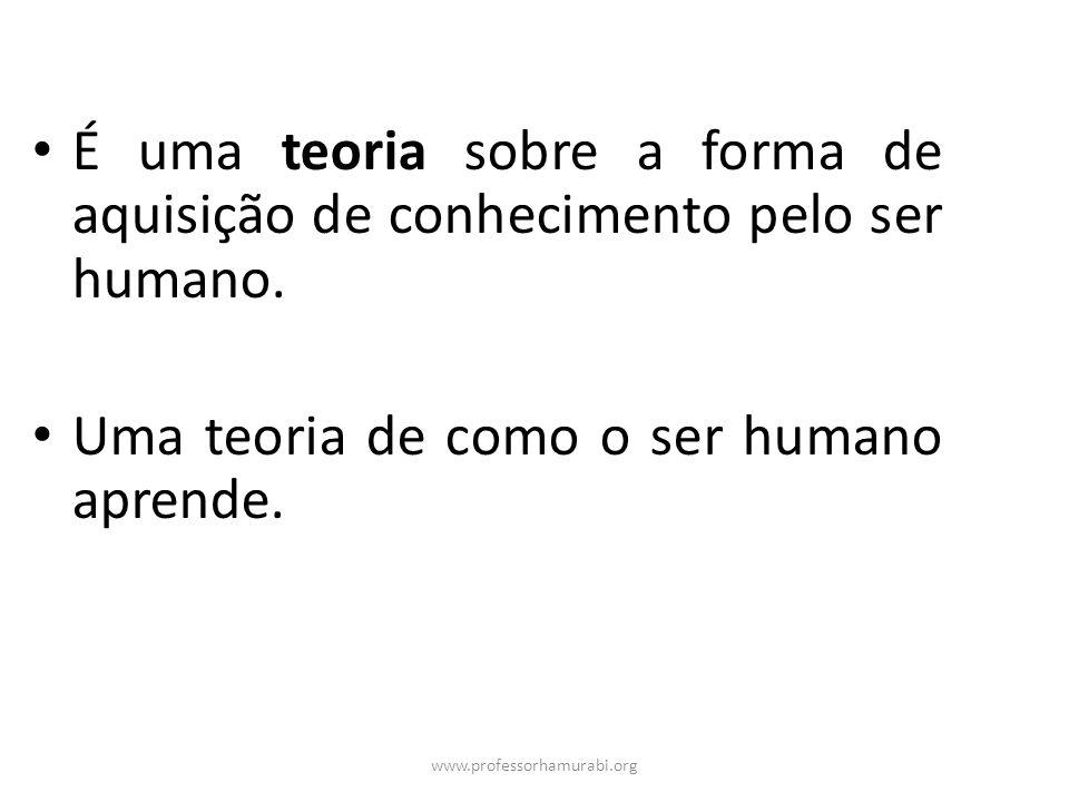 www.professorhamurabi.org É uma teoria sobre a forma de aquisição de conhecimento pelo ser humano. Uma teoria de como o ser humano aprende.