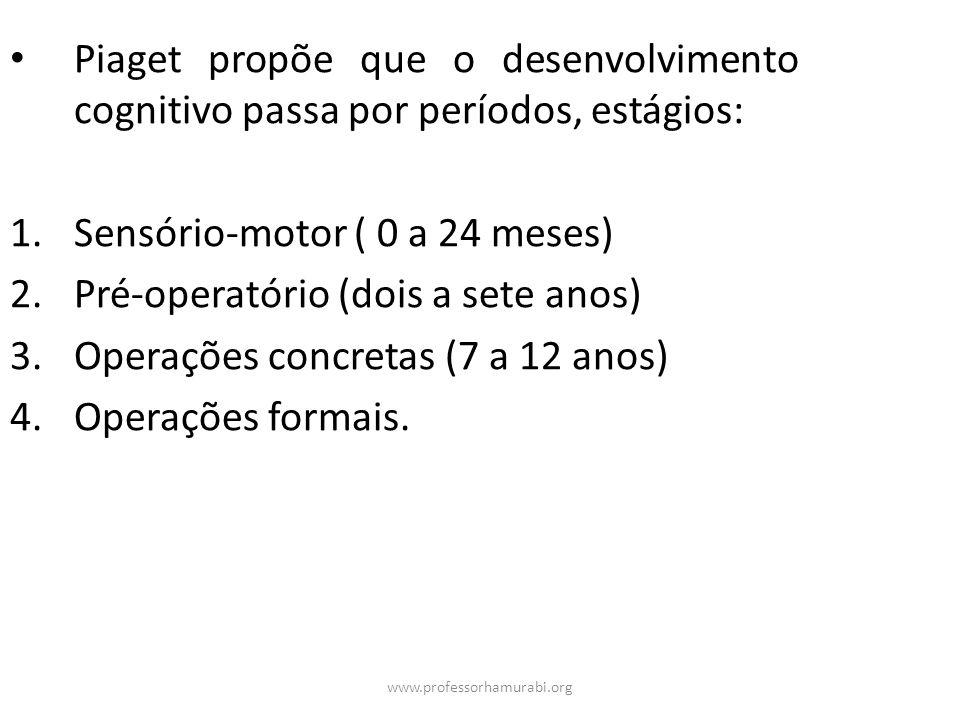 www.professorhamurabi.org Piaget propõe que o desenvolvimento cognitivo passa por períodos, estágios: 1.Sensório-motor ( 0 a 24 meses) 2.Pré-operatóri