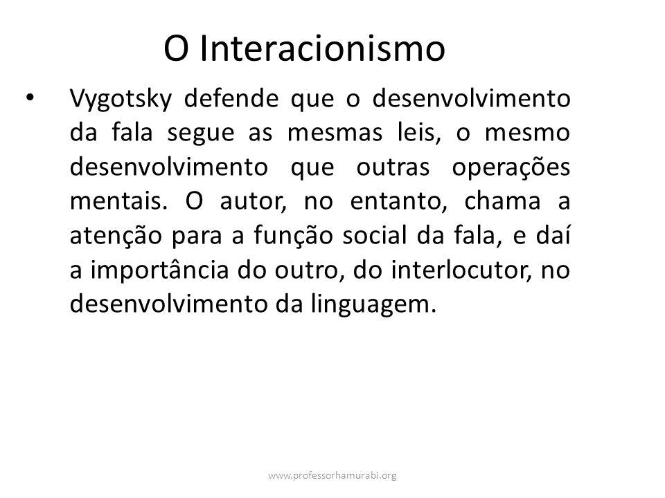 www.professorhamurabi.org O Interacionismo Vygotsky defende que o desenvolvimento da fala segue as mesmas leis, o mesmo desenvolvimento que outras ope