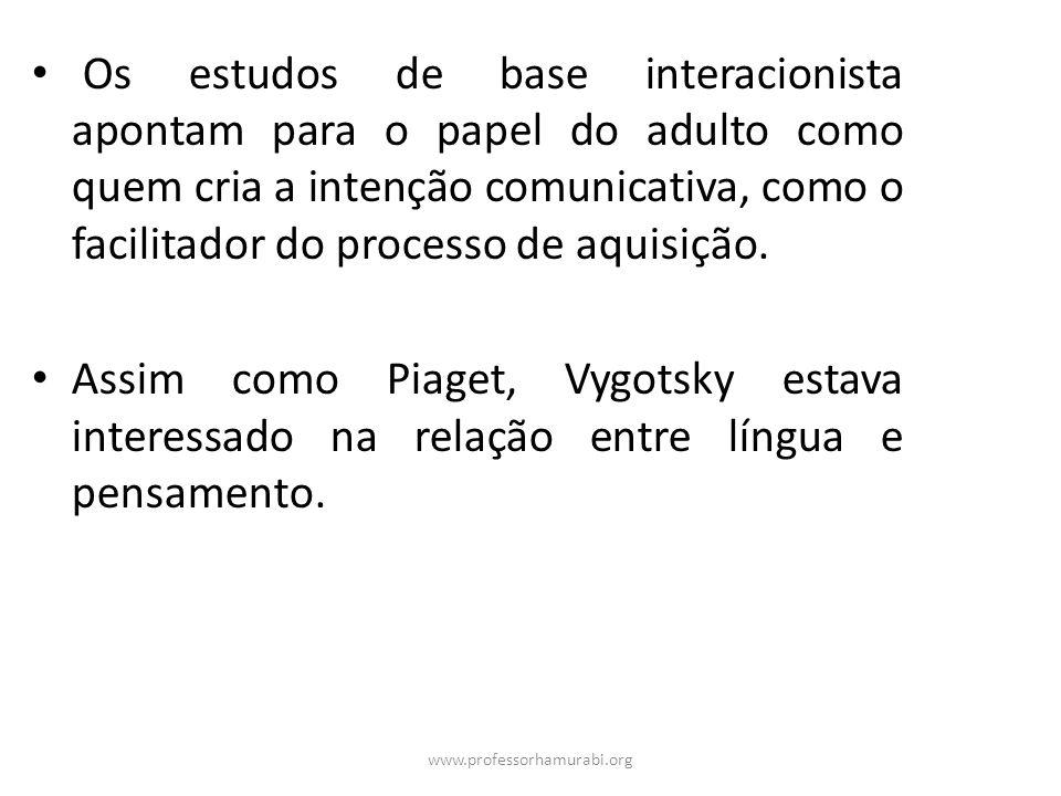 www.professorhamurabi.org Os estudos de base interacionista apontam para o papel do adulto como quem cria a intenção comunicativa, como o facilitador