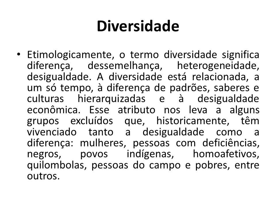 Diversidade Etimologicamente, o termo diversidade significa diferença, dessemelhança, heterogeneidade, desigualdade. A diversidade está relacionada, a