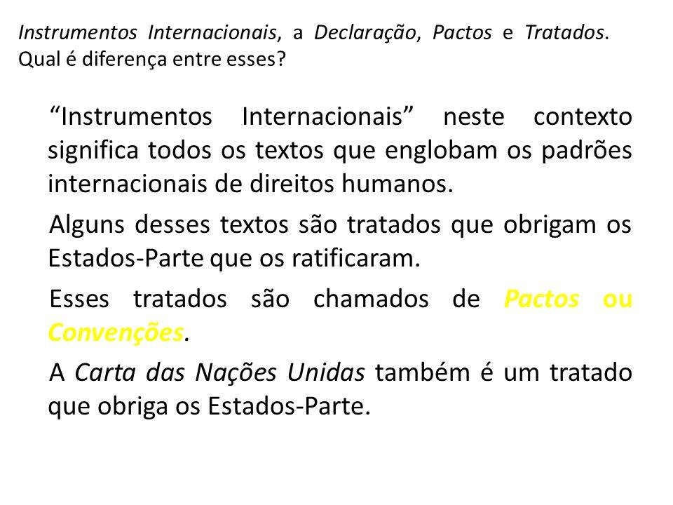 Instrumentos Internacionais neste contexto significa todos os textos que englobam os padrões internacionais de direitos humanos. Alguns desses textos