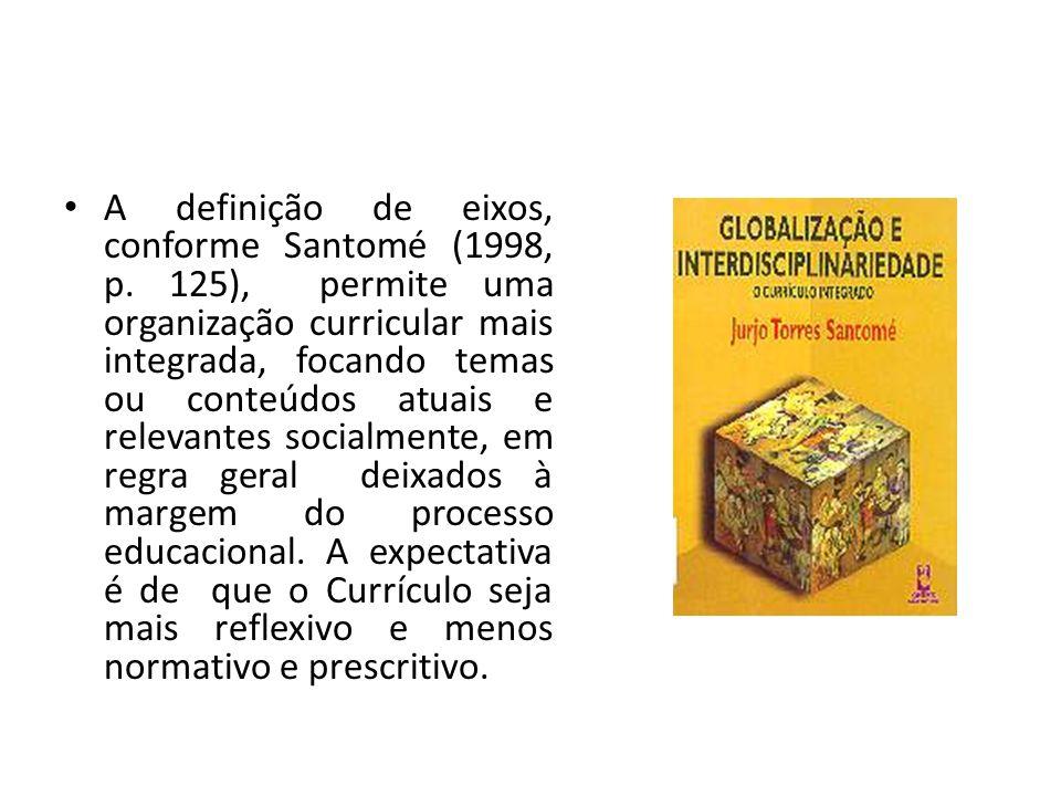 A definição de eixos, conforme Santomé (1998, p. 125), permite uma organização curricular mais integrada, focando temas ou conteúdos atuais e relevant