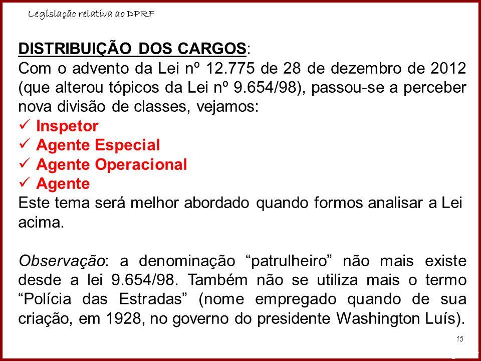 Legislação relativa ao DPRF Professora Amanda Almozara 15 DISTRIBUIÇÃO DOS CARGOS: Com o advento da Lei nº 12.775 de 28 de dezembro de 2012 (que alter