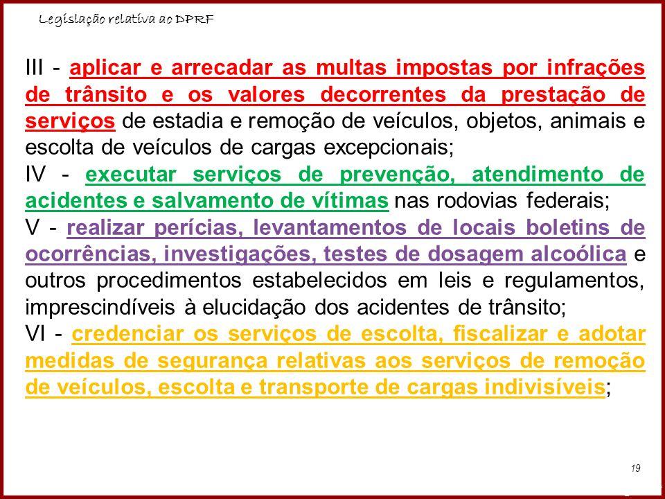 Legislação relativa ao DPRF Professora Amanda Almozara 19 III - aplicar e arrecadar as multas impostas por infrações de trânsito e os valores decorren
