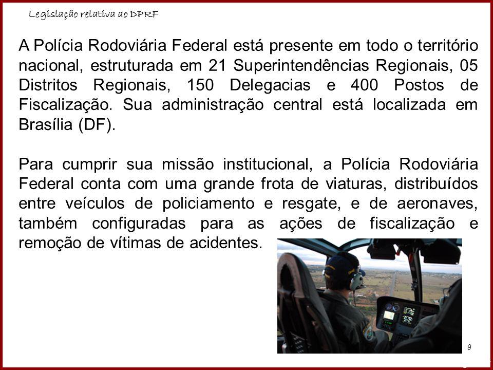 Legislação relativa ao DPRF Professora Amanda Almozara 9 A Polícia Rodoviária Federal está presente em todo o território nacional, estruturada em 21 S