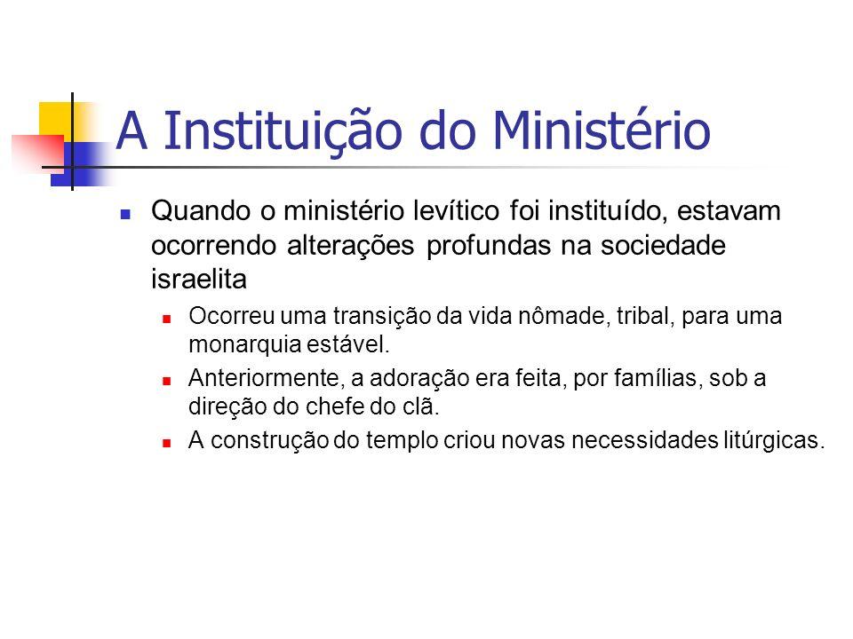 A Instituição do Ministério Quando o ministério levítico foi instituído, estavam ocorrendo alterações profundas na sociedade israelita Ocorreu uma tra