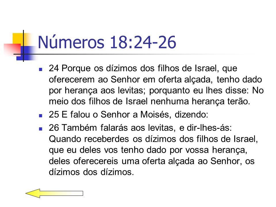 Números 18:24-26 24 Porque os dízimos dos filhos de Israel, que oferecerem ao Senhor em oferta alçada, tenho dado por herança aos levitas; porquanto e
