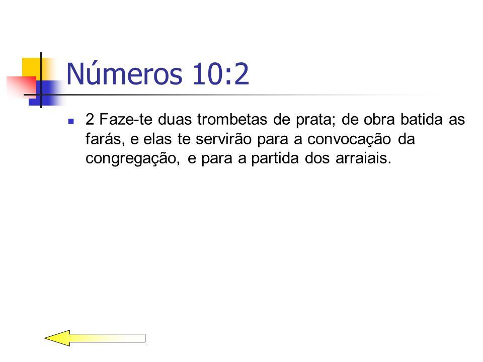 Números 10:2 2 Faze-te duas trombetas de prata; de obra batida as farás, e elas te servirão para a convocação da congregação, e para a partida dos arr
