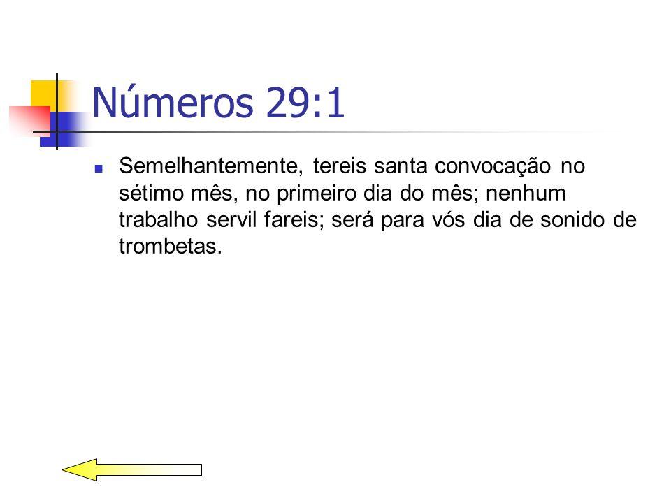 Números 29:1 Semelhantemente, tereis santa convocação no sétimo mês, no primeiro dia do mês; nenhum trabalho servil fareis; será para vós dia de sonid