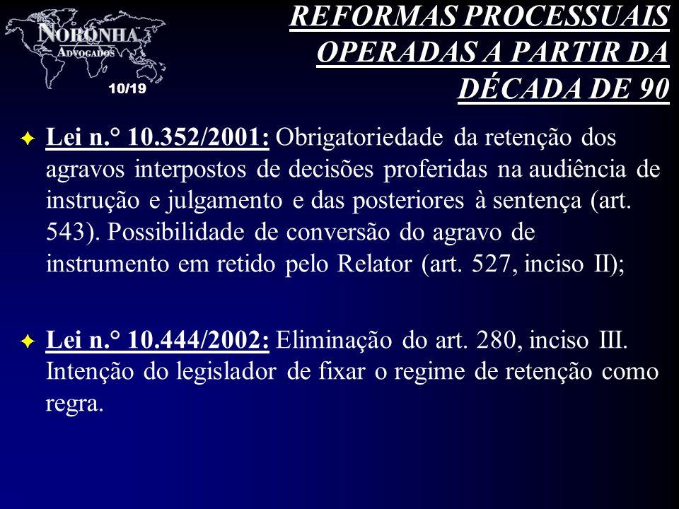 10/19 F Lei n.° 10.352/2001: Obrigatoriedade da retenção dos agravos interpostos de decisões proferidas na audiência de instrução e julgamento e das p